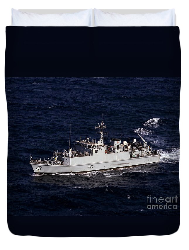 Navy Duvet Cover featuring the photograph The Royal Navy Mine Countermeasures by Stocktrek Images