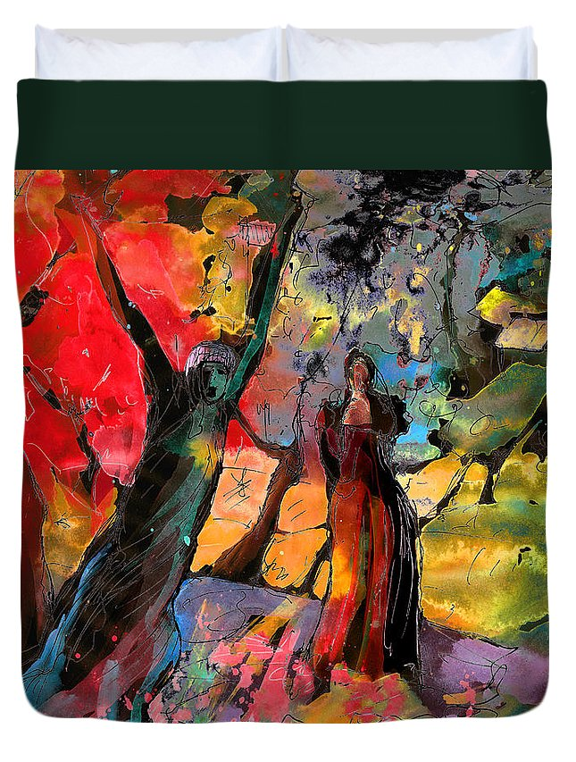 Fantasy Duvet Cover featuring the painting The Scream 01 by Miki De Goodaboom