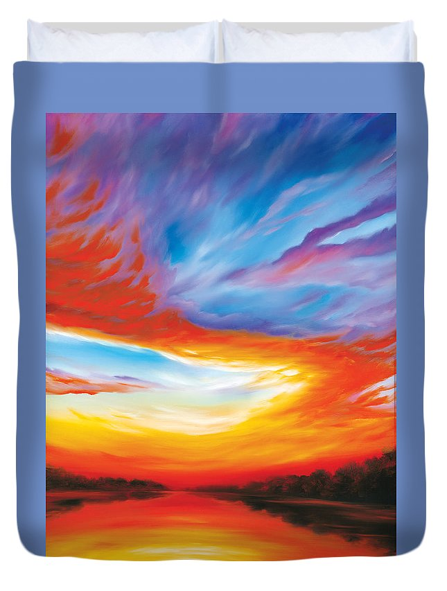 Sunrise; Sunset; Power; Glory; Cloudscape; Skyscape; Purple; Red; Blue; Stunning; Landscape; James C. Hill; James Christopher Hill; Jameshillgallery.com; Ocean; Lakes; Genesis; Creation; Quantom; Singularity Duvet Cover featuring the painting The Seventh Day by James Christopher Hill