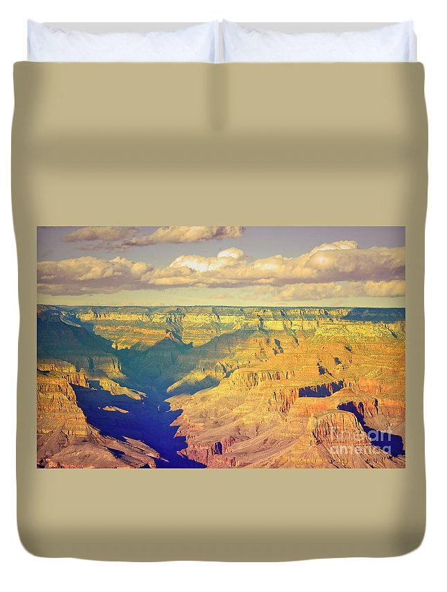 Shadows Duvet Cover featuring the photograph The Shadows In The Canyon by Tara Turner