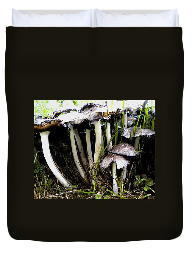 Mushrooms Duvet Cover featuring the painting The Shroom Family by Renate Nadi Wesley