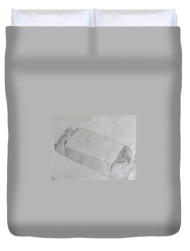 Still-life Duvet Cover featuring the drawing The Simple Box by Caroline Street