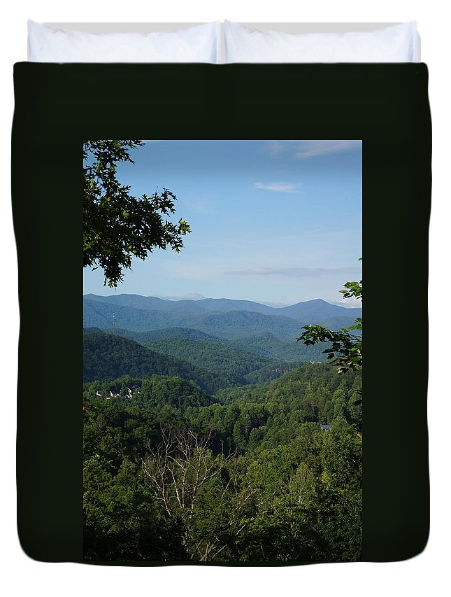 Mountain Duvet Cover featuring the photograph The Smoky Mountains by Megan Cohen