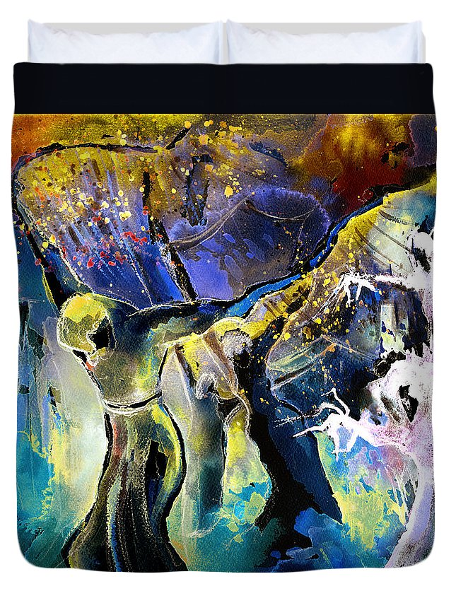 Fantasy Duvet Cover featuring the painting The Spell by Miki De Goodaboom