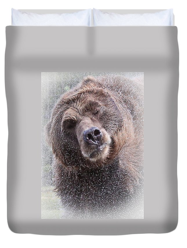 Grizzly Bear Duvet Cover featuring the photograph The Spin Cycle by Athena Mckinzie