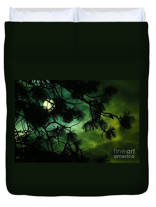 Sun Duvet Cover featuring the photograph The Sun Through Clouds And Branches by Jeff Swan