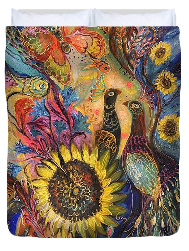 Original Duvet Cover featuring the painting The Sunflower ... Visit Www.elenakotliarker.com To Purchase The Original by Elena Kotliarker
