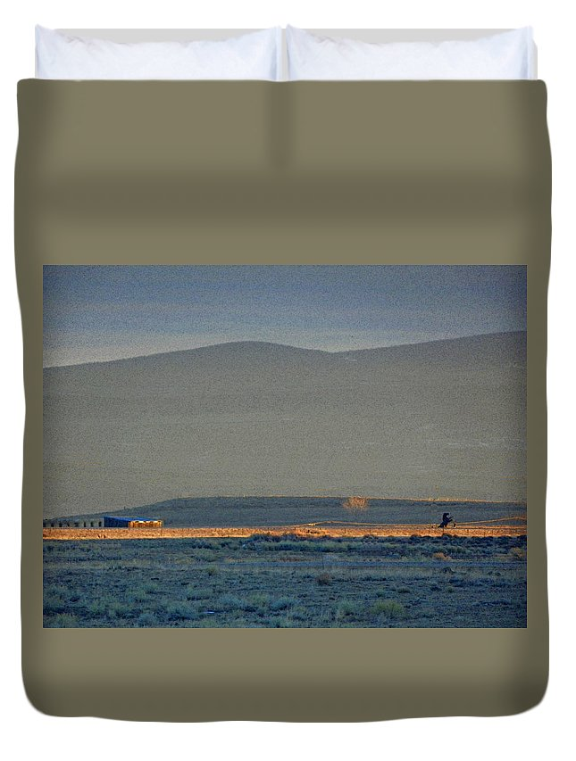 Abstract Duvet Cover featuring the photograph The Thin Orange Line by Lenore Senior