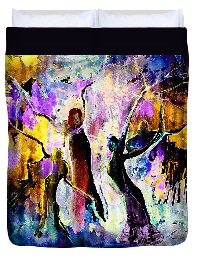 Fantasy Duvet Cover featuring the painting The Three Grace From Spain by Miki De Goodaboom