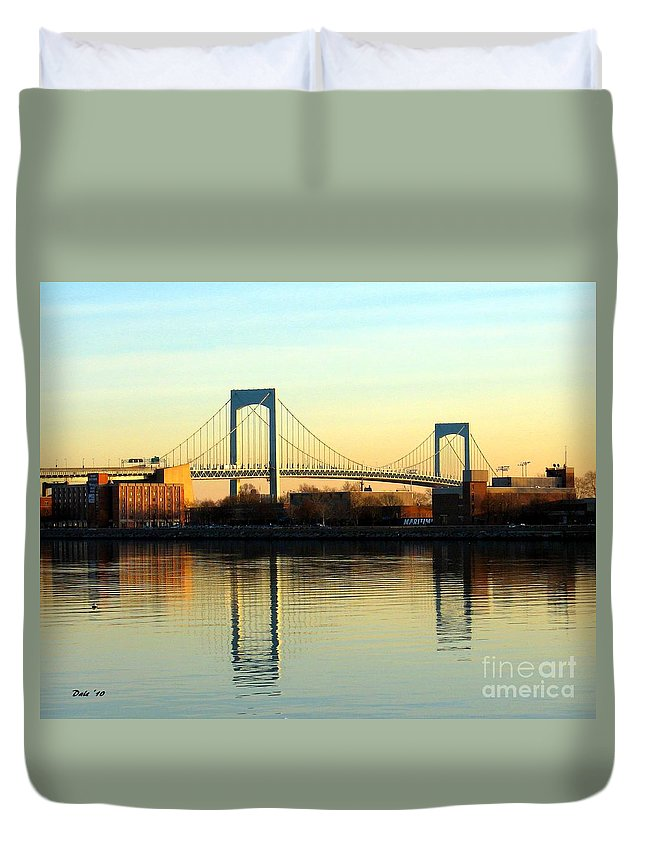 Duvet Cover featuring the digital art The Throggs Neck Bridge by Dale  Ford
