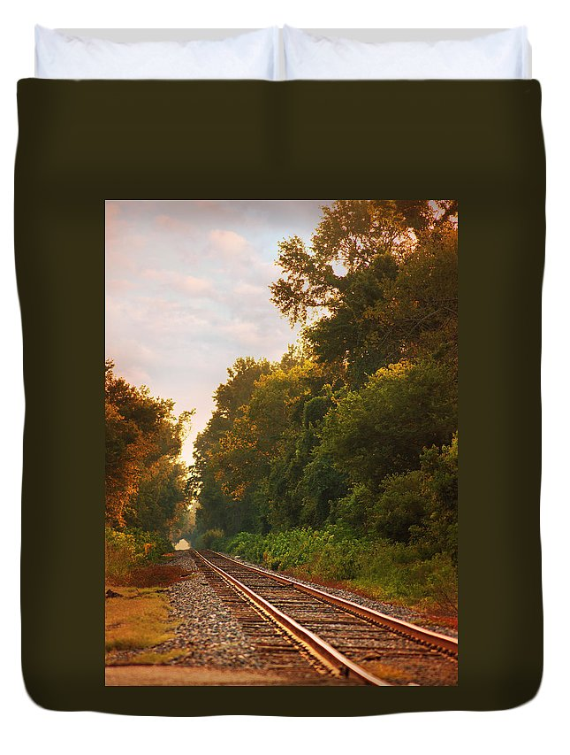 Railroad Tracks Duvet Cover featuring the photograph The Tracks by Southern Tradition