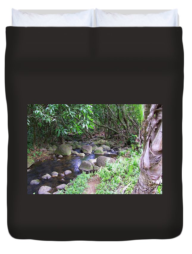 Creek Duvet Cover featuring the photograph The Trail By The Creek by Mary Deal