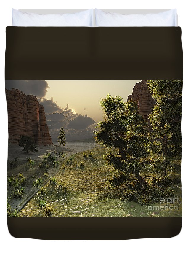 Barren Duvet Cover featuring the digital art The Trees Are Kissed By Sunlight by Corey Ford