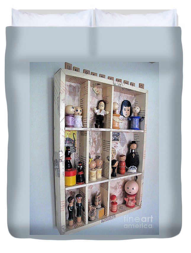 Assemblage Duvet Cover featuring the mixed media The Unredeemed by Sandy McIntire