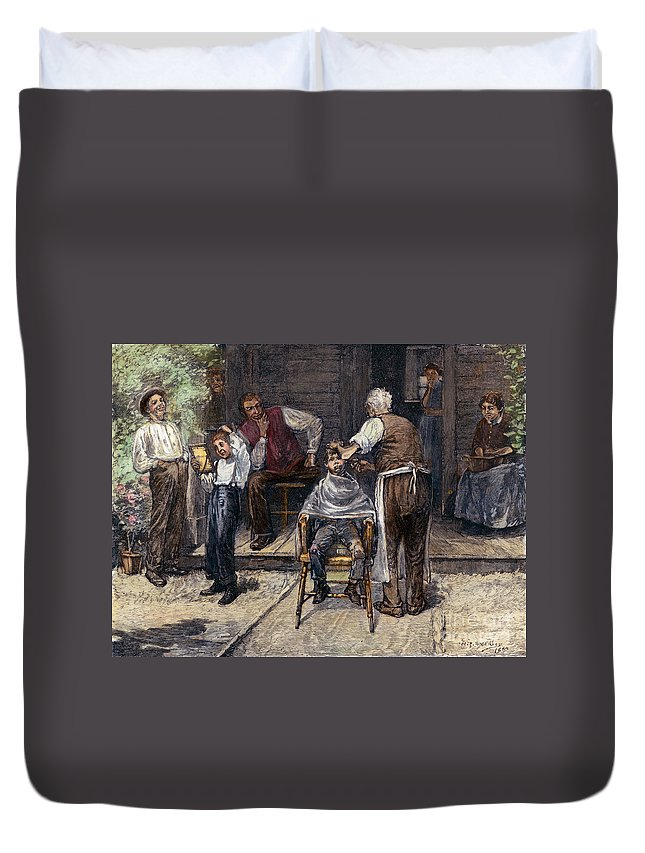 1883 Duvet Cover featuring the photograph The Village Barber, 1883 by Granger