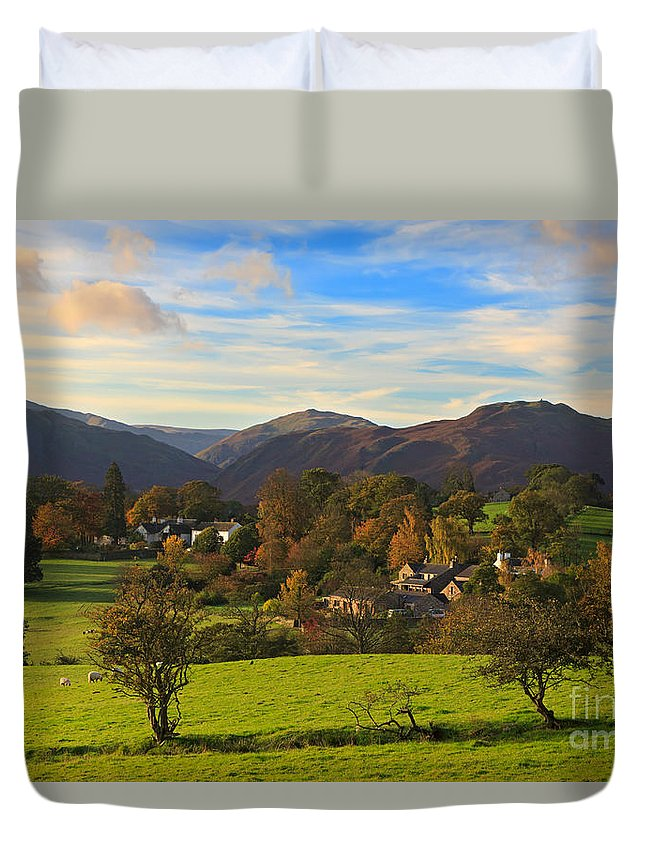 Watermillock Duvet Cover featuring the photograph The Village Of Watermillock In Cumbria Uk by Louise Heusinkveld