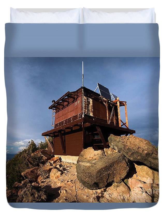 Crater Lake National Park Duvet Cover featuring the photograph The Watchman Tower by Adam Jewell