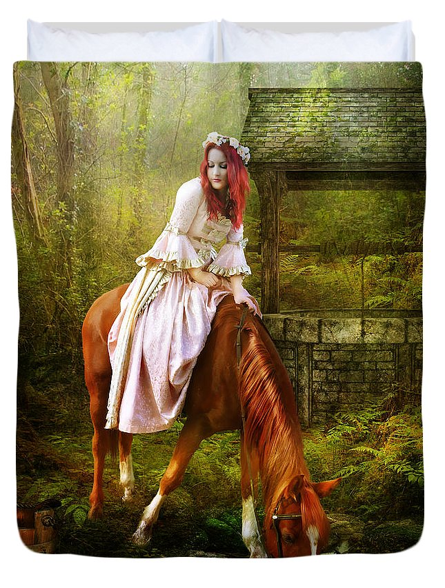 Horse Duvet Cover featuring the digital art The Waterhole by Karen Koski