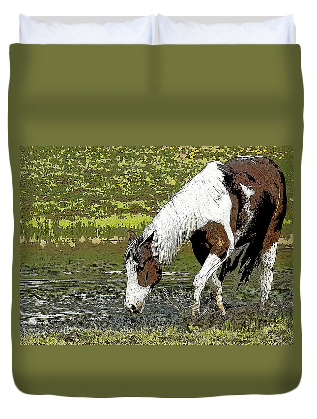 Horse Duvet Cover featuring the photograph The Watering Hole by Steve McKinzie