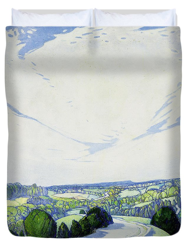 The Winding Road Duvet Cover featuring the painting The Winding Road by Edward Reginald Frampton