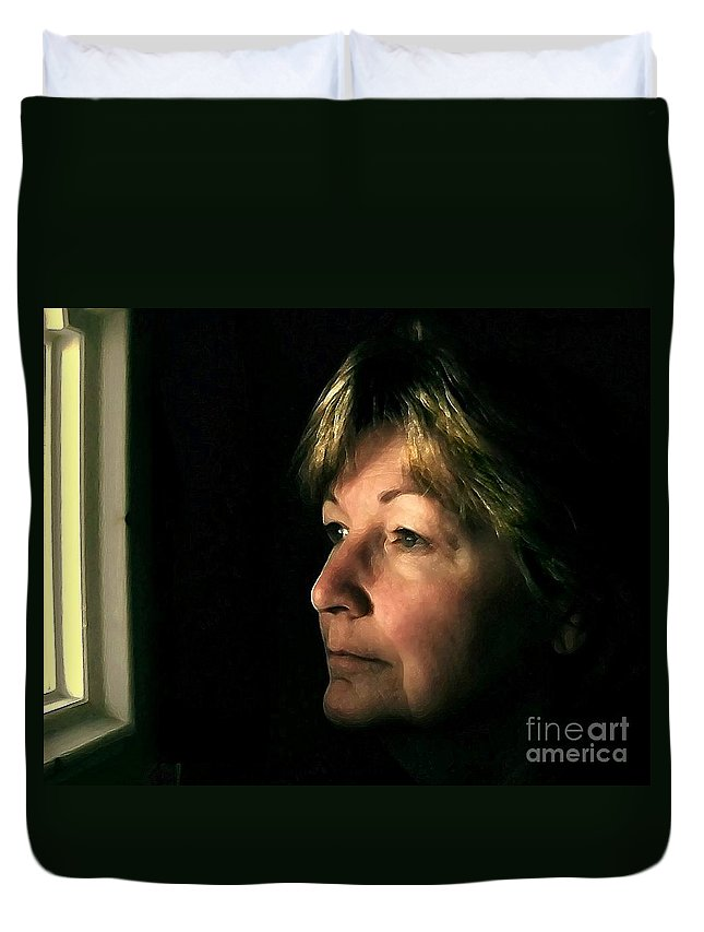 Self-portrait Duvet Cover featuring the digital art The Window by Dale  Ford