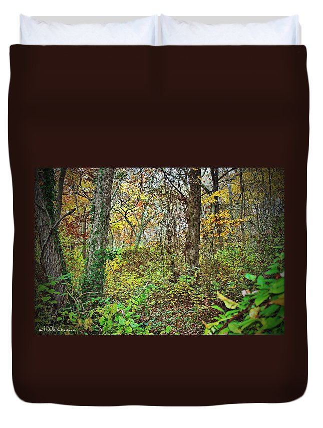 Nature Duvet Cover featuring the photograph The Woods In Autumn by Mikki Cucuzzo