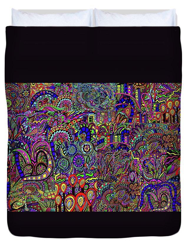 Migraine Duvet Cover featuring the painting The World Largest Migraine Artwork by Karen Elzinga