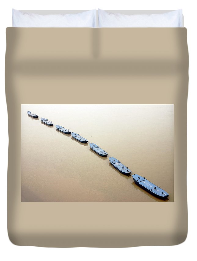 Chongqing Duvet Cover featuring the photograph The Yangtze River In Chongqing by Valentino Visentini