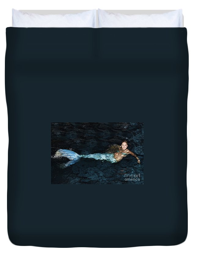 Mermaid Duvet Cover featuring the photograph There Is A Mermaid In The Pool by Nina Prommer