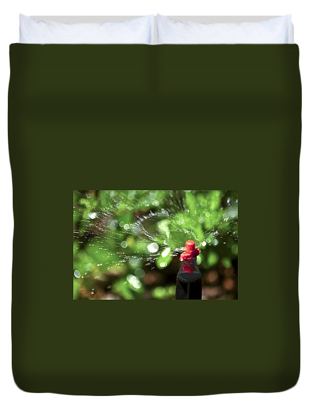 Watering Garden Duvet Cover featuring the photograph Thirsty by Carolyn Marshall