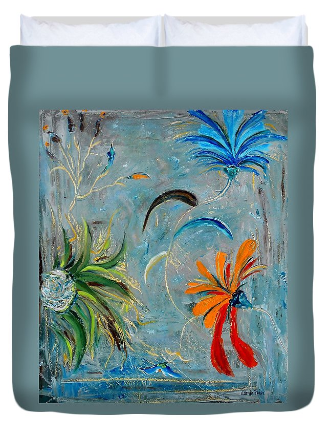 Flower Duvet Cover featuring the painting Three Flowers by Jamie Frier