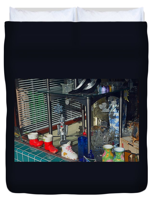 Window Shopping Duvet Cover featuring the photograph Thrift Store 2 by Bill Owen