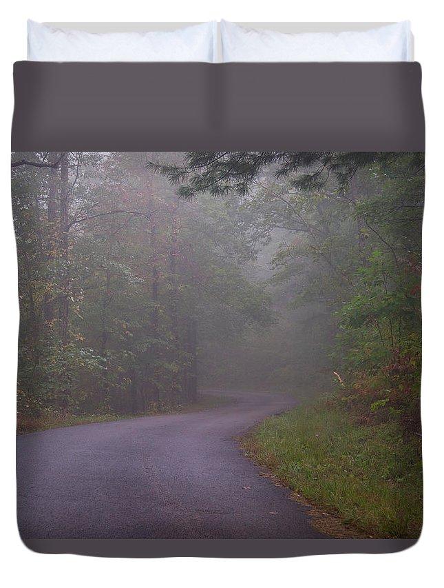 Through Duvet Cover featuring the photograph Through The Forest Dark And Deep 0 by Douglas Barnett