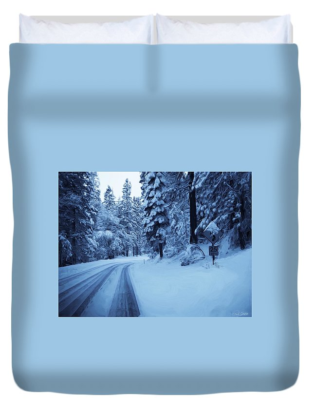 Yosemite Duvet Cover featuring the photograph Through The Snow by Heidi Smith