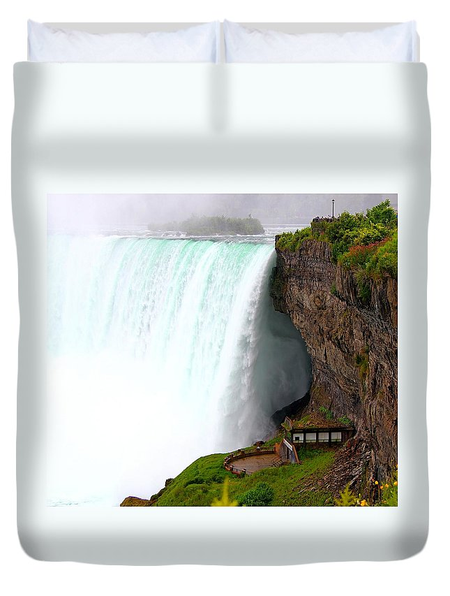 Falls Duvet Cover featuring the photograph Thundering Force by Davandra Cribbie