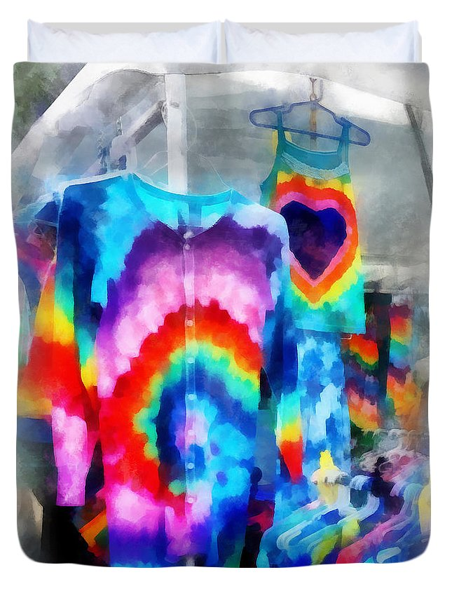 Fashion Duvet Cover featuring the photograph Tie Dye Shirts by Susan Savad