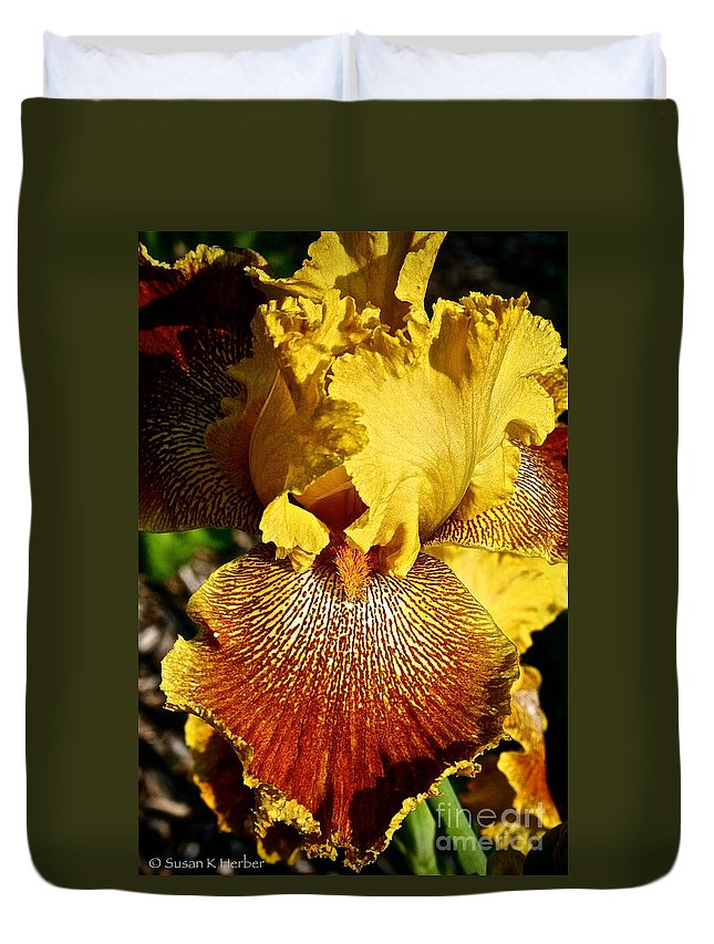 Plant Duvet Cover featuring the photograph Tiger Iris by Susan Herber