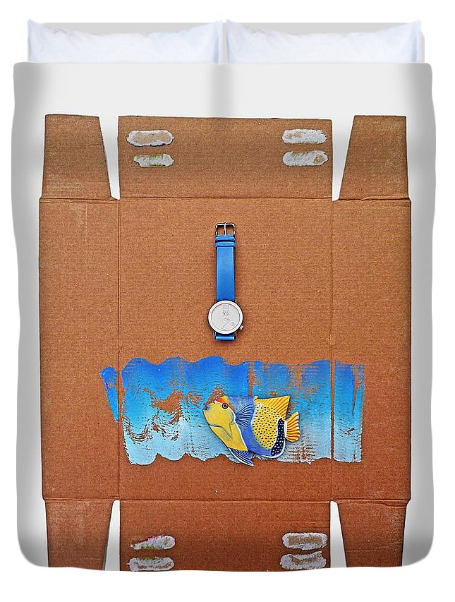 Watch Duvet Cover featuring the painting Time Piece by Charles Stuart