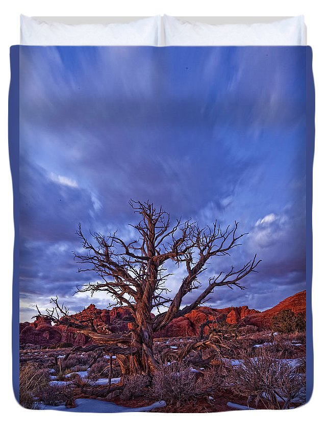 Light Duvet Cover featuring the photograph Timed Exposure Of Sunset Clouds by Robert Postma