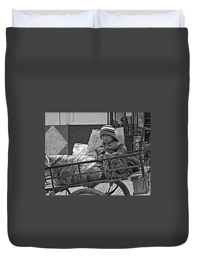 Peru Duvet Cover featuring the photograph Tiny Biker 2 Monochrome by Steve Harrington
