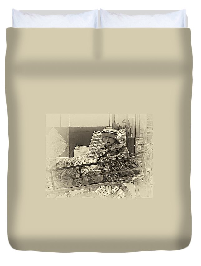 Peru Duvet Cover featuring the photograph Tiny Biker 2 Sepia by Steve Harrington