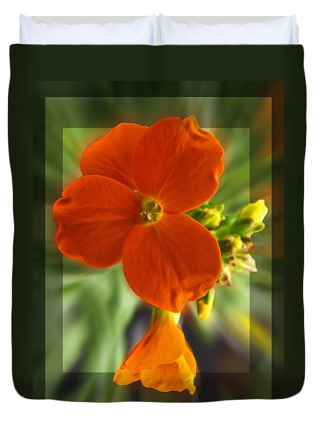 Nature Duvet Cover featuring the photograph Tiny Orange Flower by Debbie Portwood