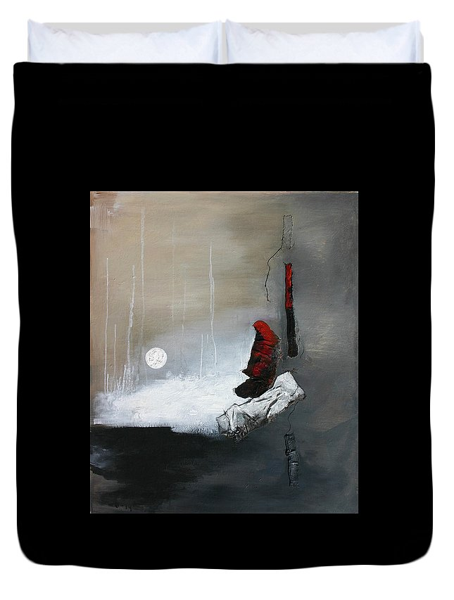 Abstract Art Duvet Cover featuring the painting Tokyo Moon by Germaine Fine Art
