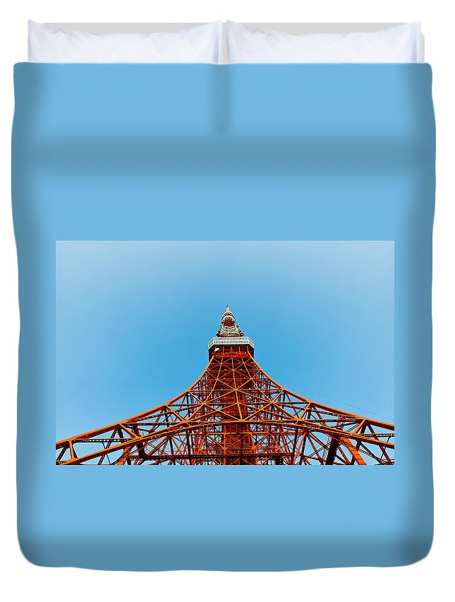 Architecture Duvet Cover featuring the photograph Tokyo Tower Faces Blue Sky by U Schade