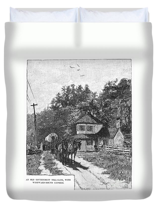 1879 Duvet Cover featuring the photograph Toll Gate, 1879 by Granger
