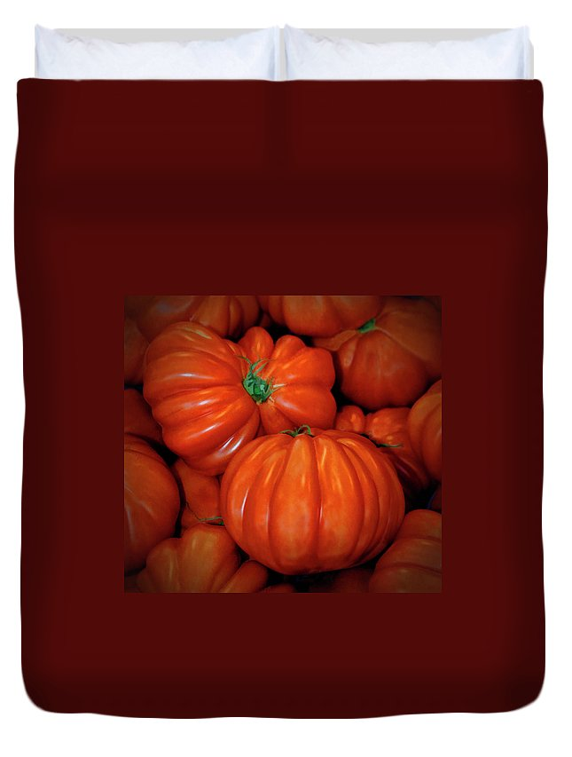 Tomato Duvet Cover featuring the photograph Tomato by Dave Mills