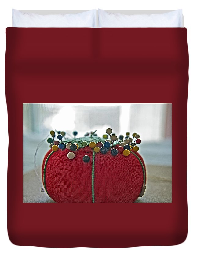 Sewing Duvet Cover featuring the photograph Tomato Pins II by Bill Owen