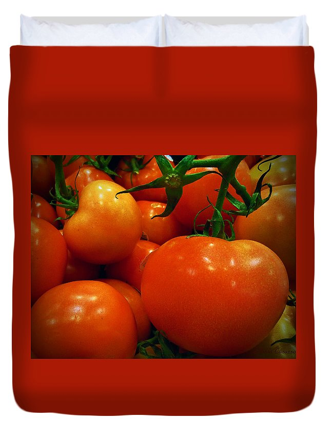 Food Duvet Cover featuring the photograph Tomatoes by Mikki Cucuzzo