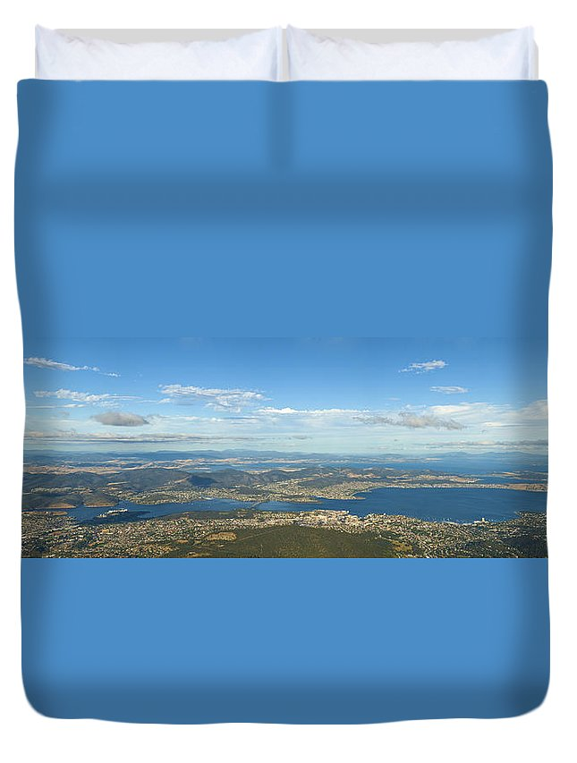 Aerial Duvet Cover featuring the photograph Top Of Mount Wellington Tasmania by U Schade