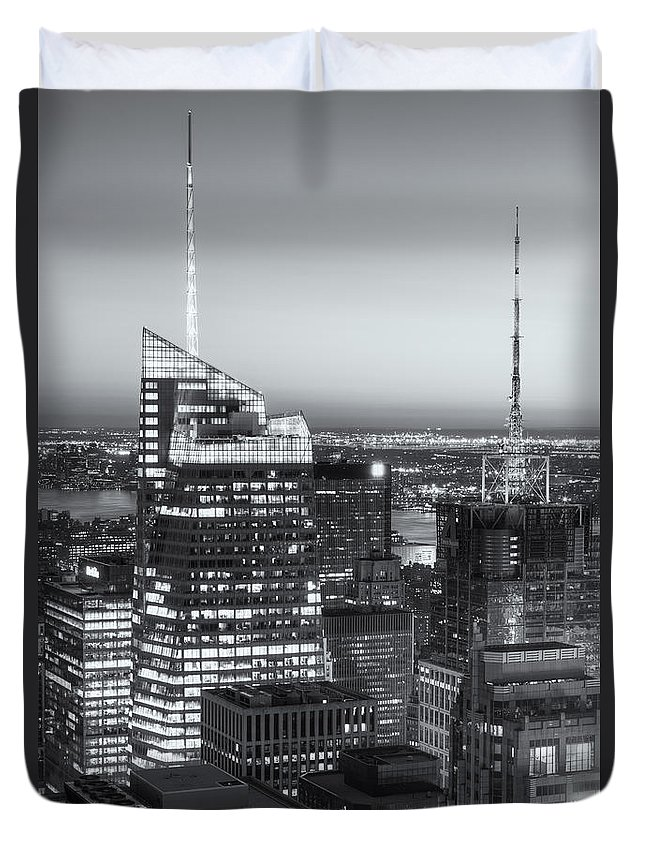 Clarence Holmes Duvet Cover featuring the photograph Top Of The Rock Twilight Vii by Clarence Holmes